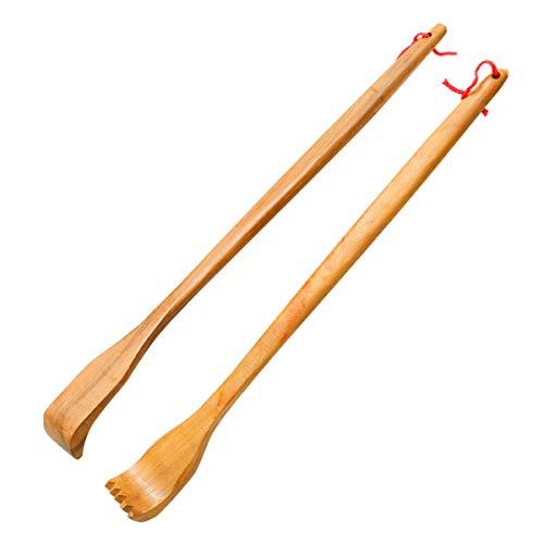 ZTFRI 2 Stück Holz Rückenkratzer Kratzhand Rückenkratzer Handheld Manuell Rücken Kratzer für Rücken Langer Rückenkratzer Back Scratcher - Massagegerät zum...