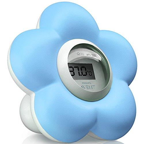 Philips Avent Digitales Thermometer, Bad- und Raum, SCH550/20, blau