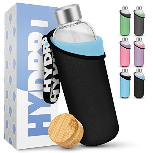 HYDROP® - Glasflasche 1 Liter & 750ml mit 2 Farben PRO SCHUTZHÜLLE [Innen & Außen] - Trinkflasche Glas 1l & 750ml für unterwegs auslaufsicher - Glas Trinkflasche...