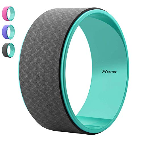 REEHUT Starkes Premium 32cm x 12cm Yoga Reifenroller, Hergestellt für Dharma Yoga Reifenposition, fürs Stretchen und Steigern der Rückendehnungen (Schwarz)