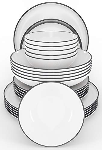 Tafelservice Set Scandi 24-tlg. - Modernes Schüssel- und Teller Set 6 Personen im Trendy Skandinavischen Design - Spülmaschinenfestes Keramik Geschirrset weiß -...