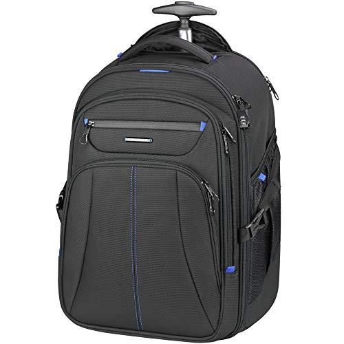 KROSER Laptop Trolley Rucksack Laptop Handgepäck Tasche Pilotenkoffer Aktenkoffer Mit Rollen Koffer Wasserdicht für bis zu 17 Zoll Laptop mit RFID-Taschen für...