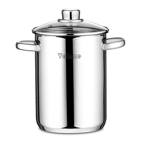 Velaze Pastatopf/Spargeltopf, Spargeltopf hoch mit Glasdeckel, Edelstahl poliert, Dampfgarer, Topf mit Siebeinsatz, geeignet für Pasta, Spaghetti, Gemüse,...