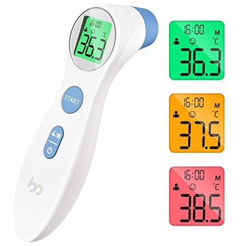 Fieberthermometer kontaktlos infrarot Stirnthermometer für Babys Erwachsene, multifunctional digitales 2 in 1 Thermometer mit sofort Ablesung, Fieberalarm, LCD...