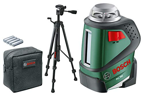 Bosch line laser PLL 360 set with tripod (working range: 20 m, accuracy: ± 0,4 mm / m, in protective bag)