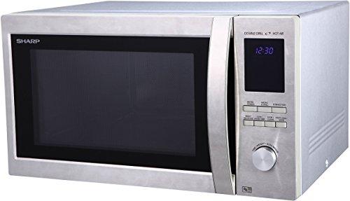Sharp R982STWE 3-in-1 Mikrowelle mit Heißluft und Grill / 42 L / 1000 W / 1300 W Infrarotgrill / 2700 W Heißluft / 10 Automatikprogramme / LED-Display mit Uhr /...
