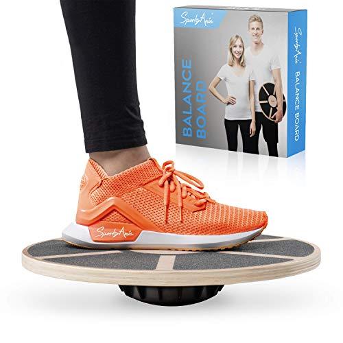 SportyAnis® Premium Balance-Board Holz inkl. Übungsbuch und optional Unterlegmatte, Durchmesser 40 cm - Therapiekreisel Wackelbrett für Physiotherapie zur...