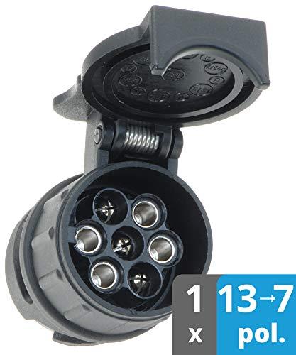 valonic Anhänger Adapter   13 auf 7 polig   schwarz   Auto zu Hänger   Adapter für Pkw, Kfz und LKW   kurz   Anhängerkupplung, Adapterstück