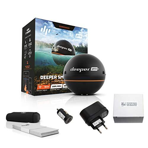 Sparpack: Deeper Pro Plus WIFI GPS inklusive 230 Volt Ladegerät 12V Autolader Adapter - Fischfinder wireless für iOS & Android Fishfinder für iPhone iPad Samsung...