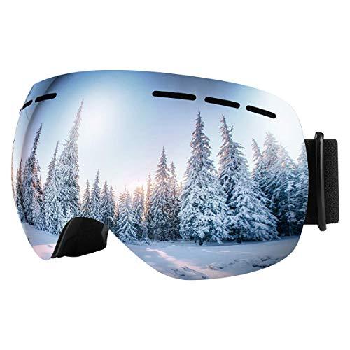 Bfull Skibrille Für Damen und Herren Kids Brillenträger Skibrille 100% OTG UV400 Anti-Fog UV-Schutz Skibrillen Snowboard Skibrille Schutz Ski Goggles (Gray-Silver...