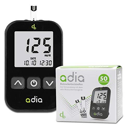 Adia-diabetessarja, mg-yksikkö, jossa on 60-verensokerin testiliuskat, lansaatiolaite ja 10-lansetit verensokerin hallintaan