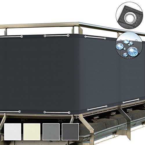 Sol Royal SolVision Balkon Sichtschutz Anthrazit PB2 PES blickdichte Balkonumspannung 90x500 cm – Balkonbespannung mit Ösen und Kordel - in div. Größen & Farben
