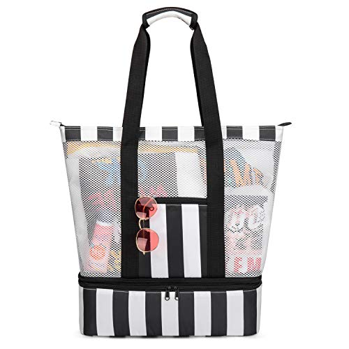Strandtasche Groß mit Kühlfach Reißverschluss Sommer Tasche für Strand Urlaub Reise Picknick Shopper von Bertasche (Schwarz/Weiß)