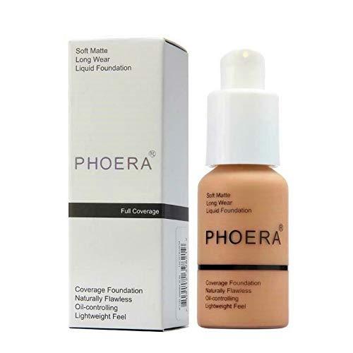 PHOERA 30ml Concealer Cover, Flüssigmatt Full Coverage Concealer Cover Shadows Skin Care Foundation Oil Control Erhellen Sie den langlebigen Shade (Nude #102)