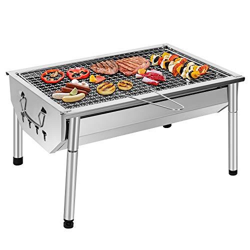 Sunjas Picknickgrill Edelstahl Holzkohlegrill Kleiner Grill Portable Campinggrill Abnehmbare BBQ Grills für Outdoor Garten Party usw. (40 x 28 x 21.5 cm)
