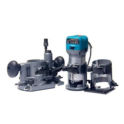 Katsu 101759 Handschneidemaschine, Holz-Laminiergerät, Router, Schreiner, Elektrowerkzeug, mit Kipp- und Tauchsockel, 6 mm, 8 mm, 10 mm Spannfutter