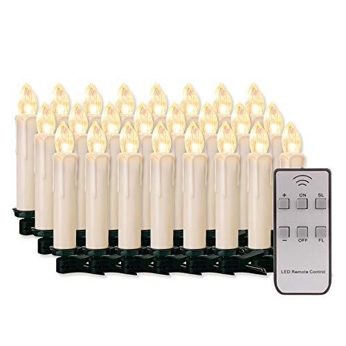 20/30/40/50/60 stk LED Kerzen LED Lichterkette Kabellos Dimmbar Kerzenlichter Flammenlose Weihnachtskerzen für Weihnachtsbaum, Weihnachtsdeko, Hochzeit,...