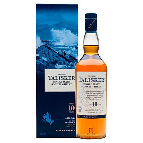 Talisker 10 Jahre Single Malt Scotch Whisky – Weicher, torfiger und rauchiger Whisky aus dem Norden Schottlands – In maritimer Geschenkbox – Standardversion...