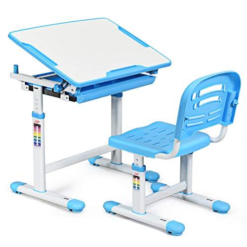 COSTWAY Kinderschreibtisch höhenverstellbar, Schülerschreibtisch Kindermöbel neigungsverstellbar, Kindertisch mit Stuhl, Schreibtisch Kinder, Farbewahl (Blau)