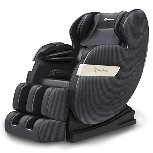 Real Relax Massagesessel, Zero-Gravity Massagestuhl für Ganzkörper mit Wärmefunktion Bluetooth Airbags Fussrollen Massage Relaxsessel für Hause und Büro,...