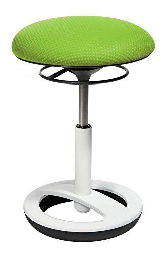 Topstar Sitness Bob, ergonomischer Sitzhocker, Arbeitshocker, Bürohocker mit Schwingeffekt, Sitzhöhenverstellung, Standfußring Alu, weiß lackiert, Stoffbezug,...