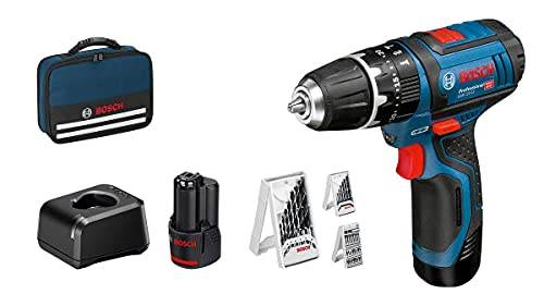 Bosch Professional 12V System Akku Schlagbohrschrauber GSB 12V-15 (Bohr-Ø Holz max: 19 mm, inkl. 2x2,0 Ah Akku + Ladegerät, 3x Bohrer-Set, in Tasche) - Amazon...