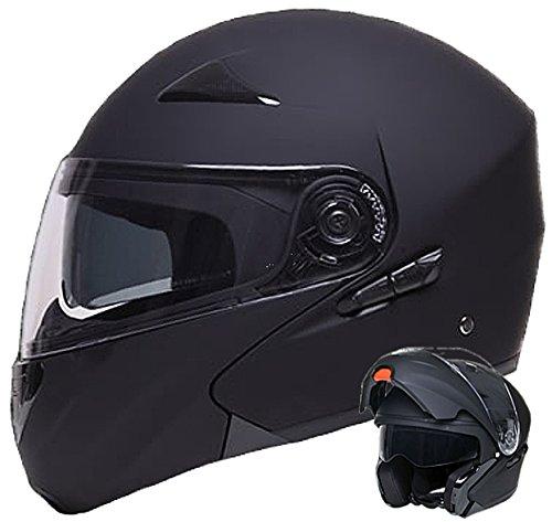 Klapphelm Integralhelm Helm Motorradhelm RALLOX 109 schwarz/matt mit Sonnenblende (S, M, L, XL) Größe M