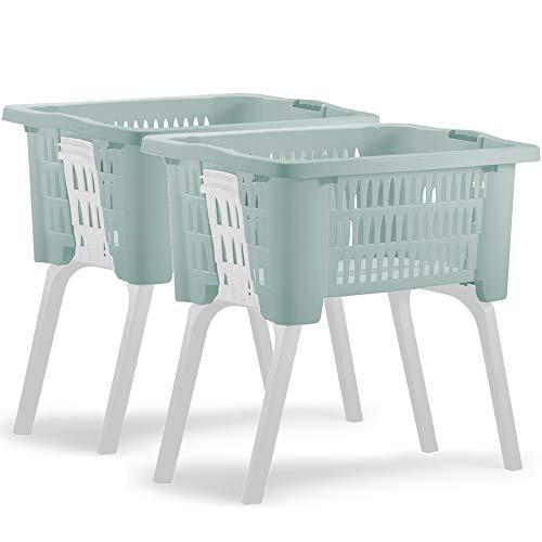 Deuba 2x Wäschekorb mit ausklappbaren Beinen Tragegriff 38L Kunststoff Haushalt Waschwanne 60x40x58cm Waschbehälter Grün