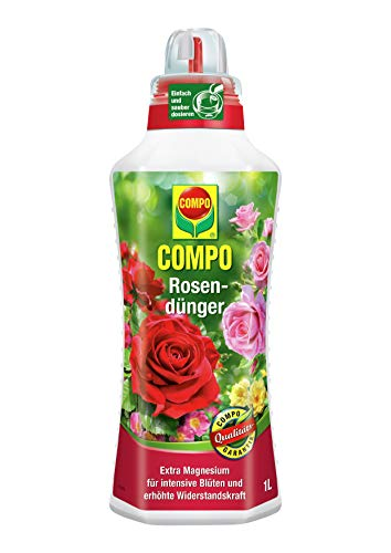 COMPO Rosendünger für alle Rosen im Zimmer, in Kübeln, Beeten sowie im Freiland, Spezial-Flüssigdünger mit extra Magnesium, 1 Liter