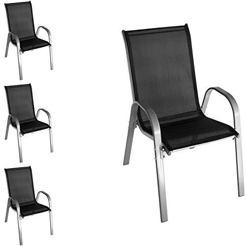 Wohaga 4 Stück Stapelstuhl mit Textilenbespannung, Stahlgestell pulverbeschichtet, Grau/Schwarz, stapelbar, Gartenstuhl