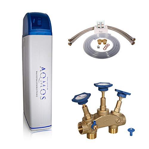 Aqmos R2D2-72 Wasserenthärthärtungsanlage mit Anschlussset 1' und Montageblock 1' | Wasserenthärter für Haushalte bis zu 7 Personen | Entkalkungsanlage,...