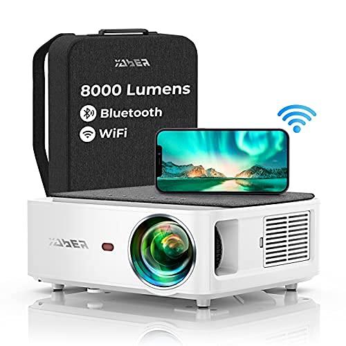 YABER WiFi Bluetooth 5G Beamer 8000 Lumen Full HD 1080P Heimkino Beamer, mit 4-Punkt Trapezkorrektur, Support 4k&50% Zoom,PPT Präsentation Beamer kompatibel mit iOS...