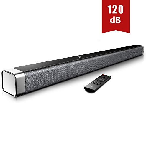 Soundbar 2.0 Kanal,BOMAKER 120 dB 37 Zoll Lautsprecher Bluetooth 5.0 mit Eingebaute Bass,DSP für TV (mit AUX,USB,Optischer Anschluss) Heimkino,Party-Schwarz
