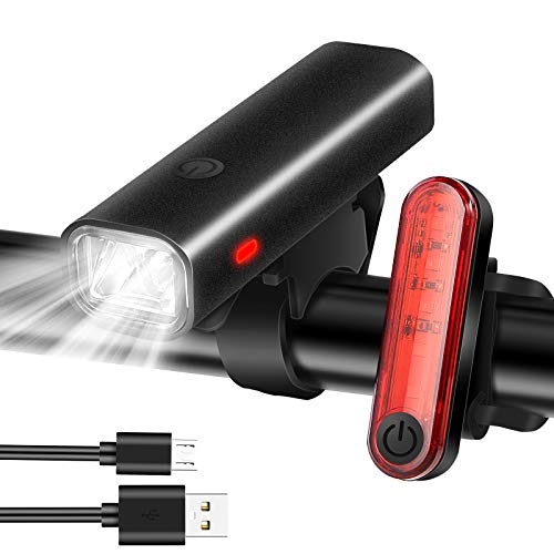 Pezimu Fahrradlicht LED Frontlicht & Rücklicht   USB Wiederaufladbare Fahrradlichter   StVZO Zugelassen Fahrradbeleuchtung   Wasserdicht Fahrradlampe Set
