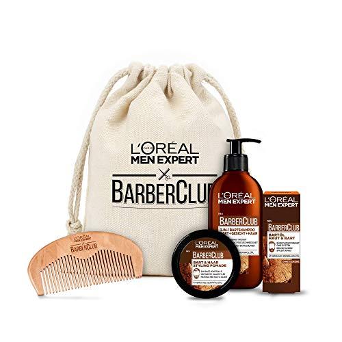 L'Oréal Men Expert Bartpflege Set mit Bartöl, Bartshampoo, Bartkamm und Bart Styling Pomade, Barber Club Premium Geschenkset, 1 x 633 g
