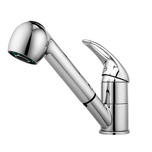 Küchenarmatur ausziehbar Wasserhahn Bad Mischbatterie Spültischarmatur mit Brause Edelstahl, für Kaltes und Warmes Wasser