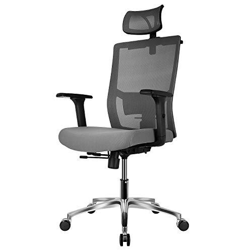 FIXKIT Bürostuhl, Ergonomischer Bürostuhl, Chefstuhl, 360°Drehen mit Einstellbare Kopfstütze Armlehnen, Höhenverstellung und Wippfunktion für Soho- oder...