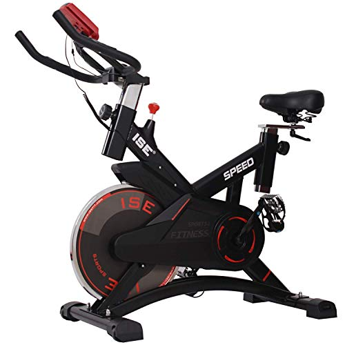 ISE Profi Indoor Cycle Ergometer exercise bike, 10kg flywheel, with heart rate monitor, LCD display, armrest, heart rate belt, padded