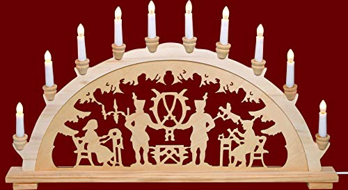 yanka-style XL candle arch candlestick chandelier miners approx. 72 cm wide traditional motif 10 lights Christmas Advent gift decoration (83141-43)