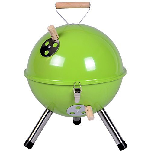 Nexos YG00263_G Mini Grill Barbeque Charcoal Grill for Garden Patio Camping Festival Picnic BBQ Barbecue Ø 30 cm green