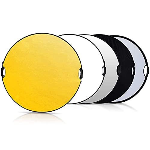 Selens 5 in 1 110cm Fotografie Faltreflektor Set Reflektor Diffusor mit 2 Griff und Tragetasche (Rund)