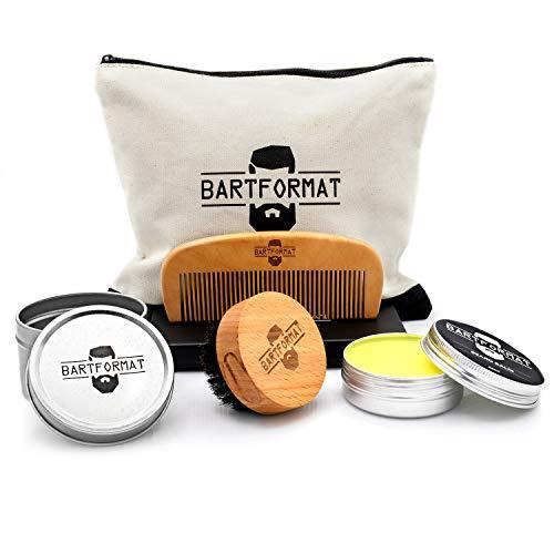 BARTFORMAT® 4-teiliges Bartpflege-Set GLATTMACHER - inklusive Bart-Balsam (60ml) + Bart-Bürste + Bart-Kamm + Kulturbeutel - Hochwertiges Set für die tägliche...