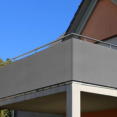 RATEL Balkon Sichtschutz, Balkonbespannung HDPE 90 x 500 cm, Mit Ösen, Krawatte und Seil, für Balkon Garten Terrassen Hof, Atmungsaktiv, Beschattung und...