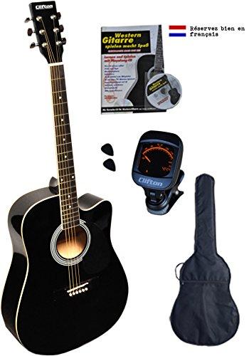 Clifton Westerngitarre, schwarz Cutaway, Rosewood Griffbrett, mit gepolsterte Tasche, Buch Karaoke CD, digitales Stimmgerät und 2 Plectren