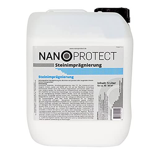 Nanoprotect Steinimprägnierung   Profi Qualität   Vorbeugend gegen Grünbelag und Einschmutzung   5 L für ca. 40-60 m²