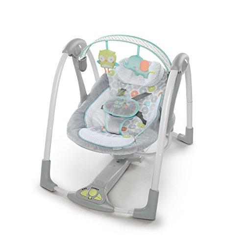 Ingenuity, Hugs & Hoots zusammenklappbare und tragbare Babyschaukel mit 5 Schaukelgeschwindigkeiten, 8 Melodien, Lautstärkeregulierung und abnehmbarem...