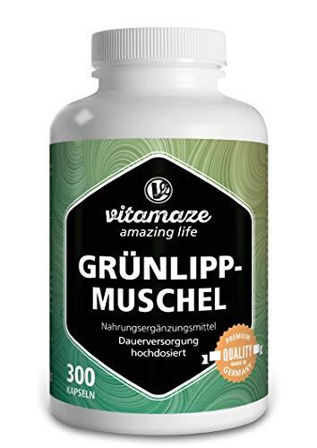 Grünlippmuschel Kapseln hochdosiert: 1500 mg Grünlippmuschel Pulver aus Neuseeland pro Tagesdosis, 300 Kapseln Dauerversorgung, Natürliche Nahrungsergänzung ohne...