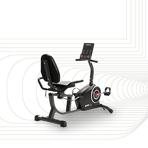 SportPlus Liegeergometer mit App-Steuerung, 24 computergesteuerte Widerstandsstufen, Handpulssensoren, Nutzergewicht bis 110kg, Liegeheimtrainer für zu Hause,...