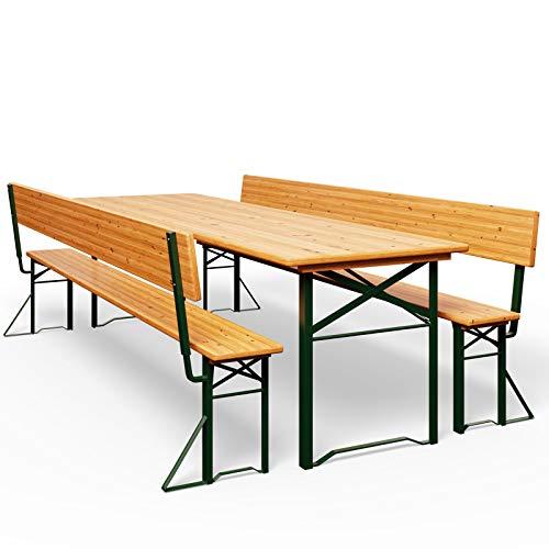 Deuba Bierzeltgarnitur mit Lehne Breiter Tisch 170x70cm Holzgarnitur Bierzelt Festzeltgarnitur Sitzgruppe Sitzgarnitur