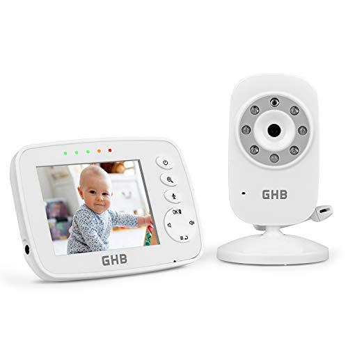 GHB Babyphone 3,2 Zoll Smart Baby Monitor mit ECO Video Gegensprech TFT LCD Bildschirm Nachtsicht Kamera Wecker Temperaturüberwachung Wiederaufladbar